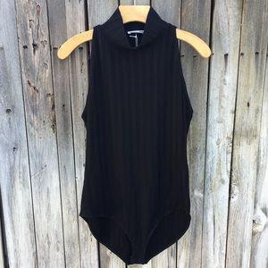 NWT Reformation Isabel Ribbed Knit Bodysuit Black